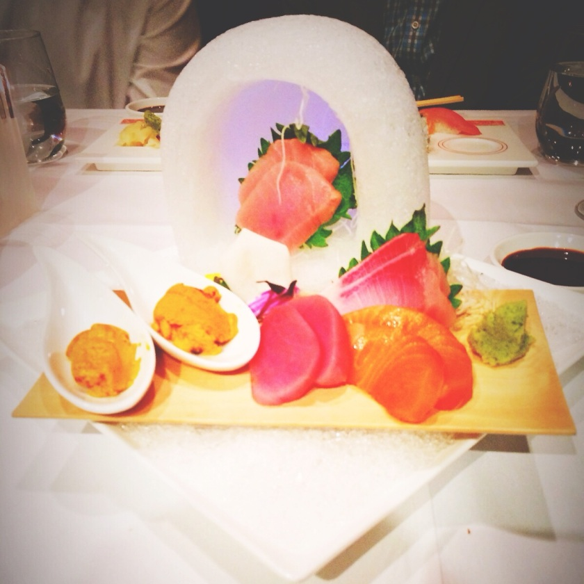 sashimi inside an igloo at megu