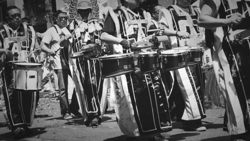 tribal marchers and drummers